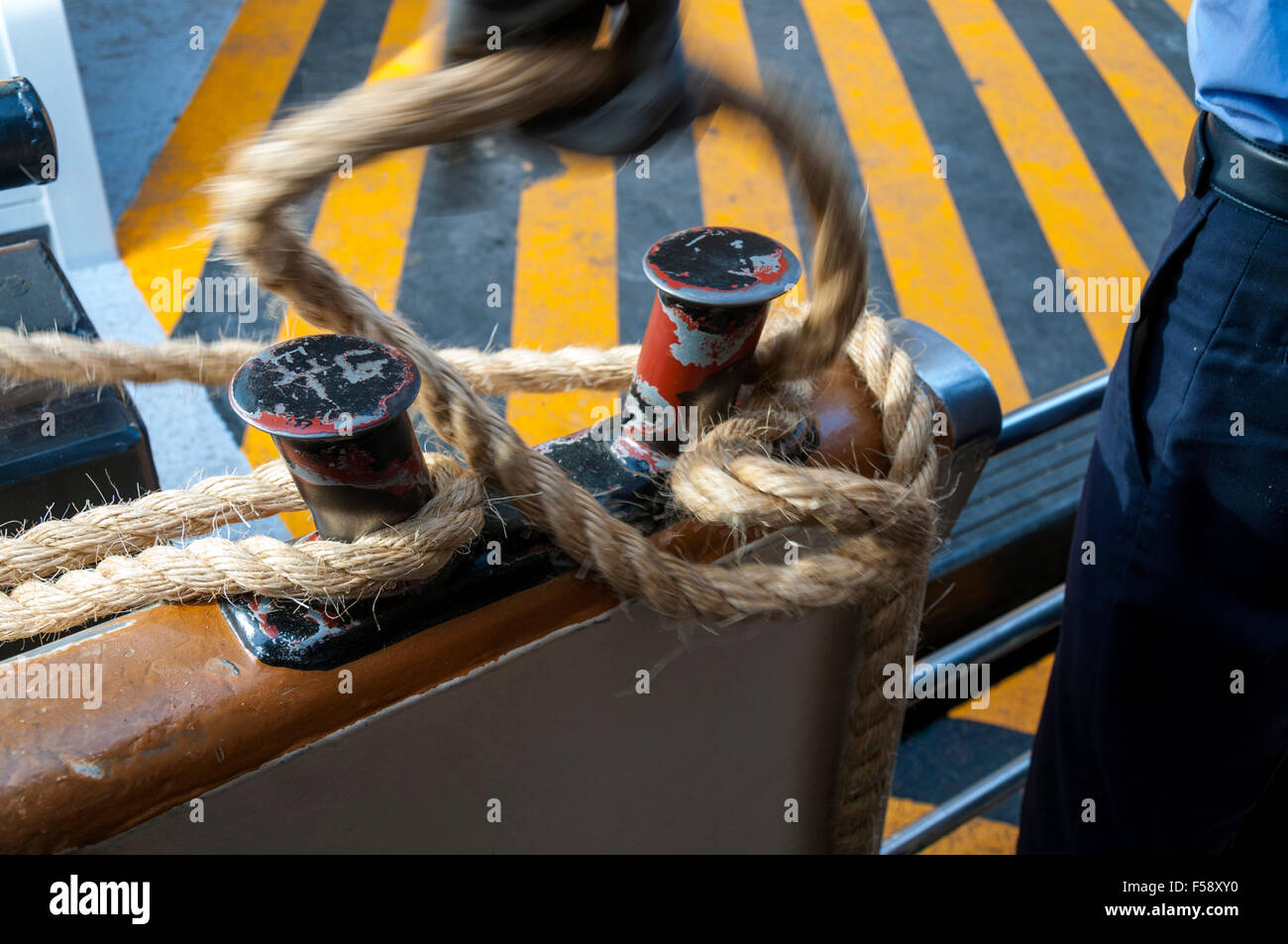 Mooring a Vaporetto at a stop on Grand Canal, Venice, Italy - Stock Image
