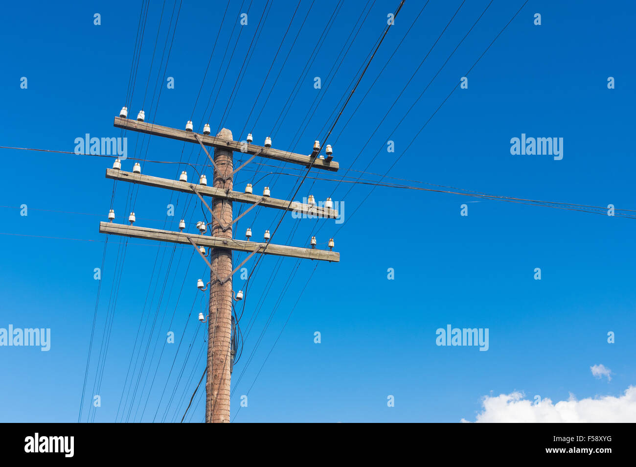 Aged Wooden Power Pole Stock Photos X Y G Wiring For An Electricity In Rural Ukrainian Area Image