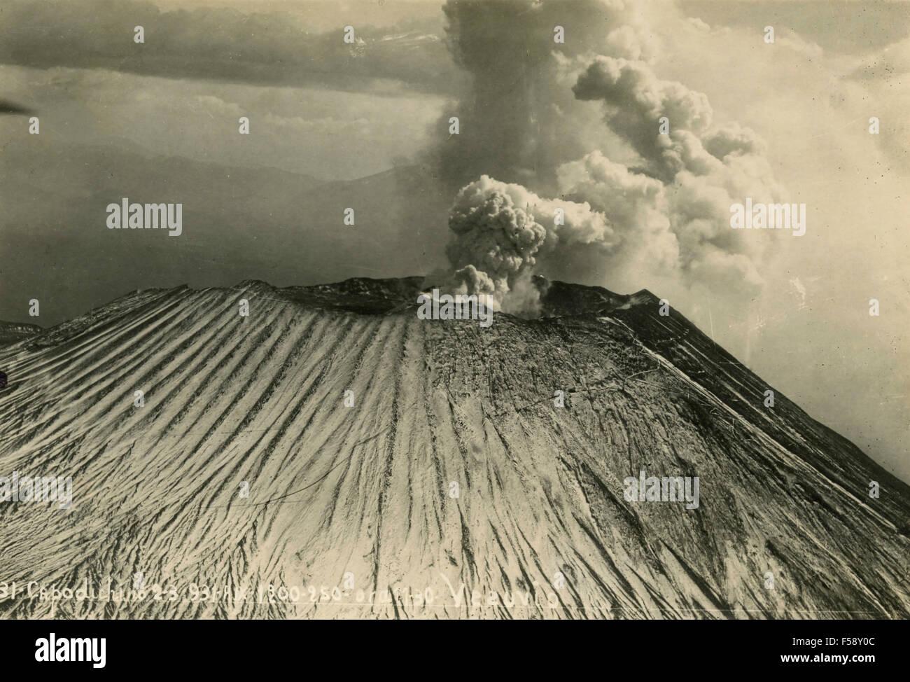 Eruption of Vesuvius in 1931, Capodichino, Italy - Stock Image
