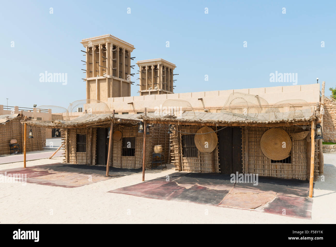 Traditional fishermen's houses on display at the Diving Village outdoor Museum in the  Heritage area at Al Shindagha Stock Photo