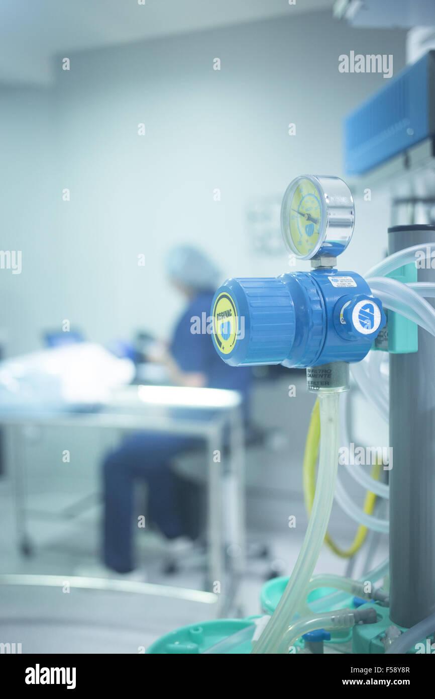 Traumatology orthopedic surgery hospital emergency operating room bed prepared for arthroscopy operation photo. - Stock Image