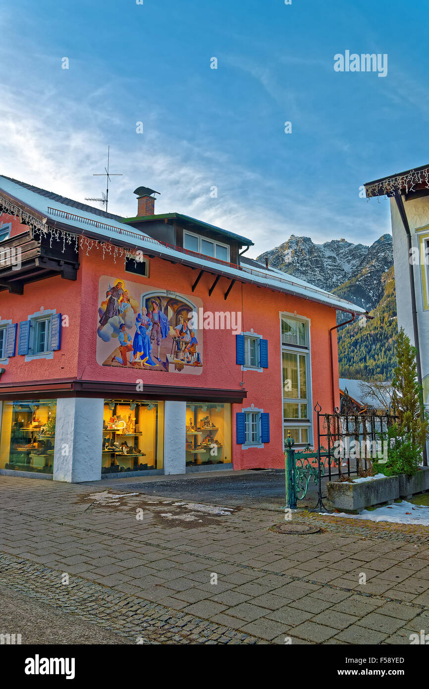 Beautiful facade paintings in Garmisch-Partenkirchen, Bavaria, Germany. The main driving force behind this type - Stock Image