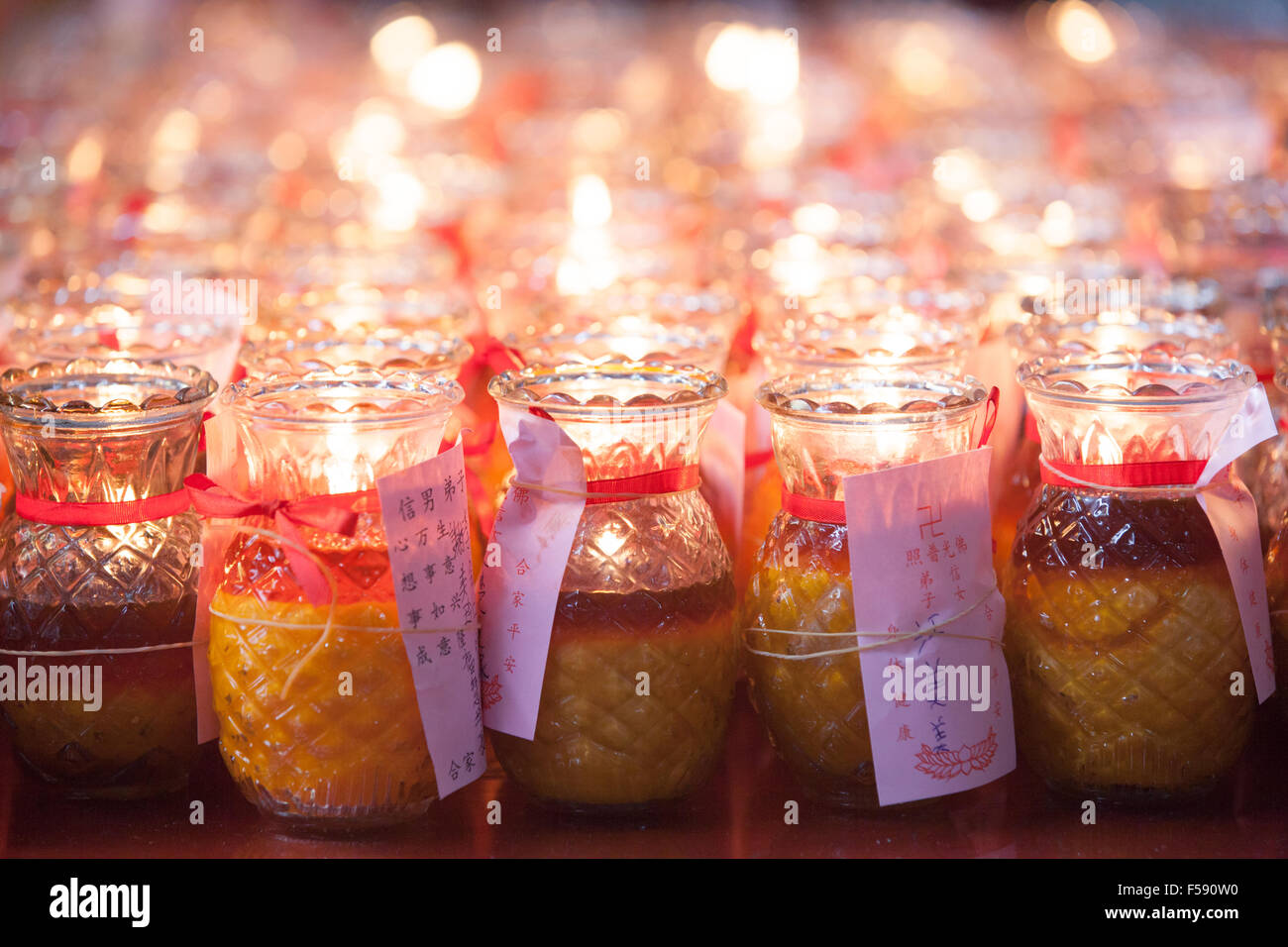 Georgetown, Malaysia - 02 August, 2014: Burning candles in Kuan Yin Temple is one of the oldest Chinese temples Stock Photo