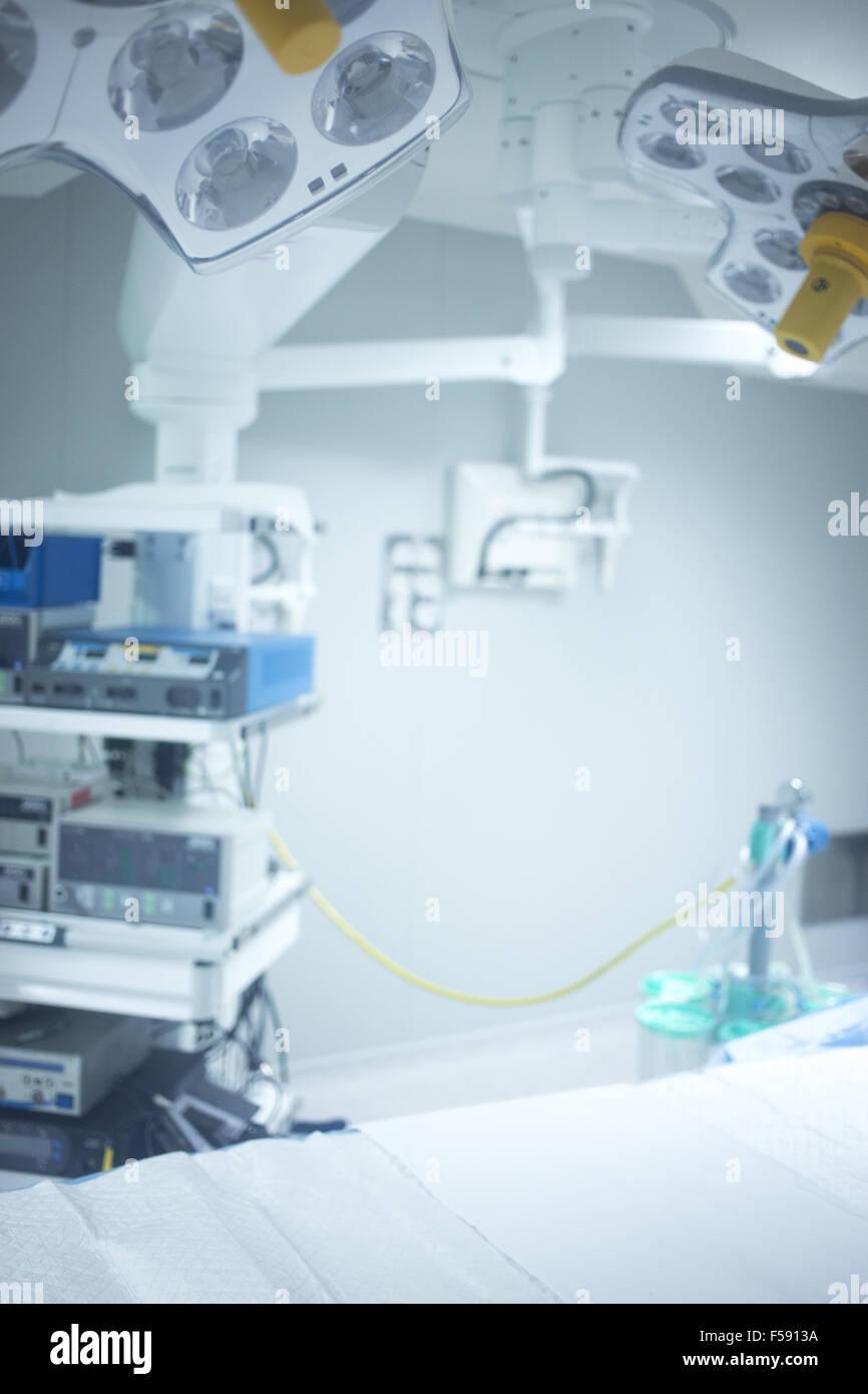 Traumatology orthopedic surgery hospital emergency operating room prepared for arthroscopy operation photo. - Stock Image