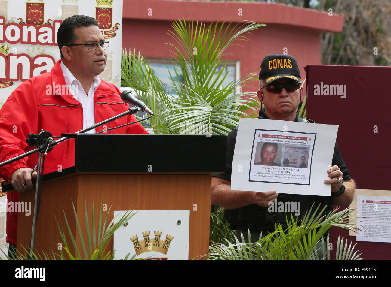 Caracas, Venezuela. 29th Oct, 2015. The Minister of Popular Power for Interior, Justice and Peace, Gustavo Gonzalez Stock Photo