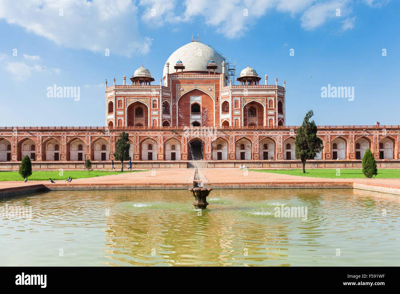 Delhi, India - 19 September, 2014:  Daytime view of Humayun's Tomb, UNESCO World Heritage on 19 September 2014, Stock Photo