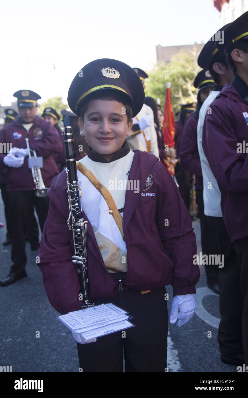 Proud young band member at the Panamanian Independence Parade in the Crown Heights neighborhood of Brooklyn NY. Stock Photo
