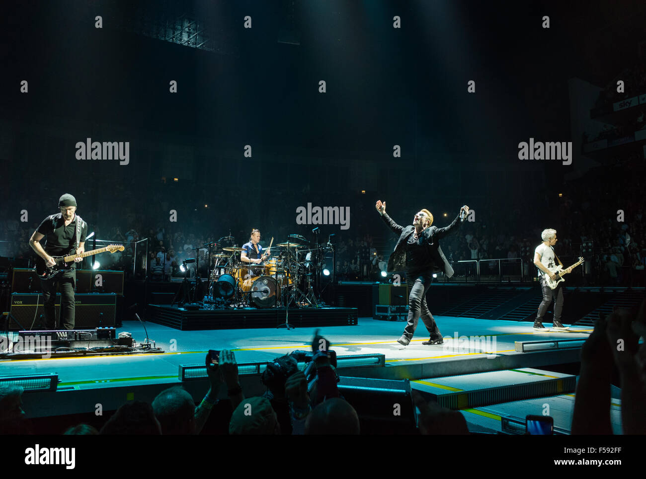 U2 performing live at London O2 on the Innocence and Experience tour Credit:  david pearson/Alamy Live News Stock Photo