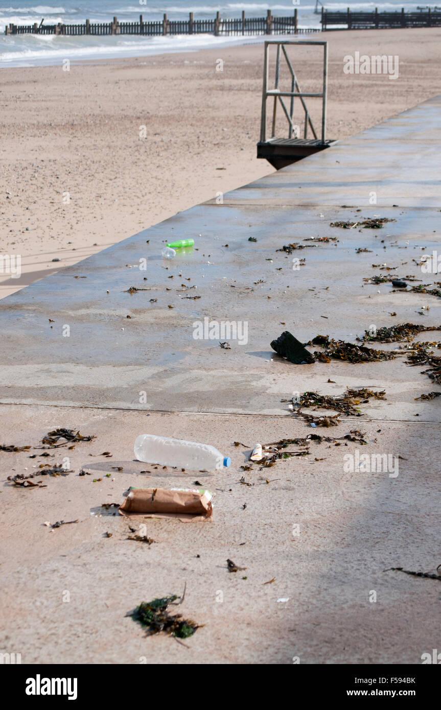 Plastic contamination of the Sea - Stock Image