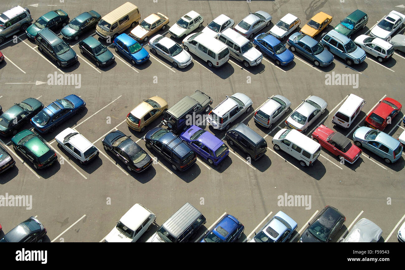 Car parking seen from above in bird view - Stock Image