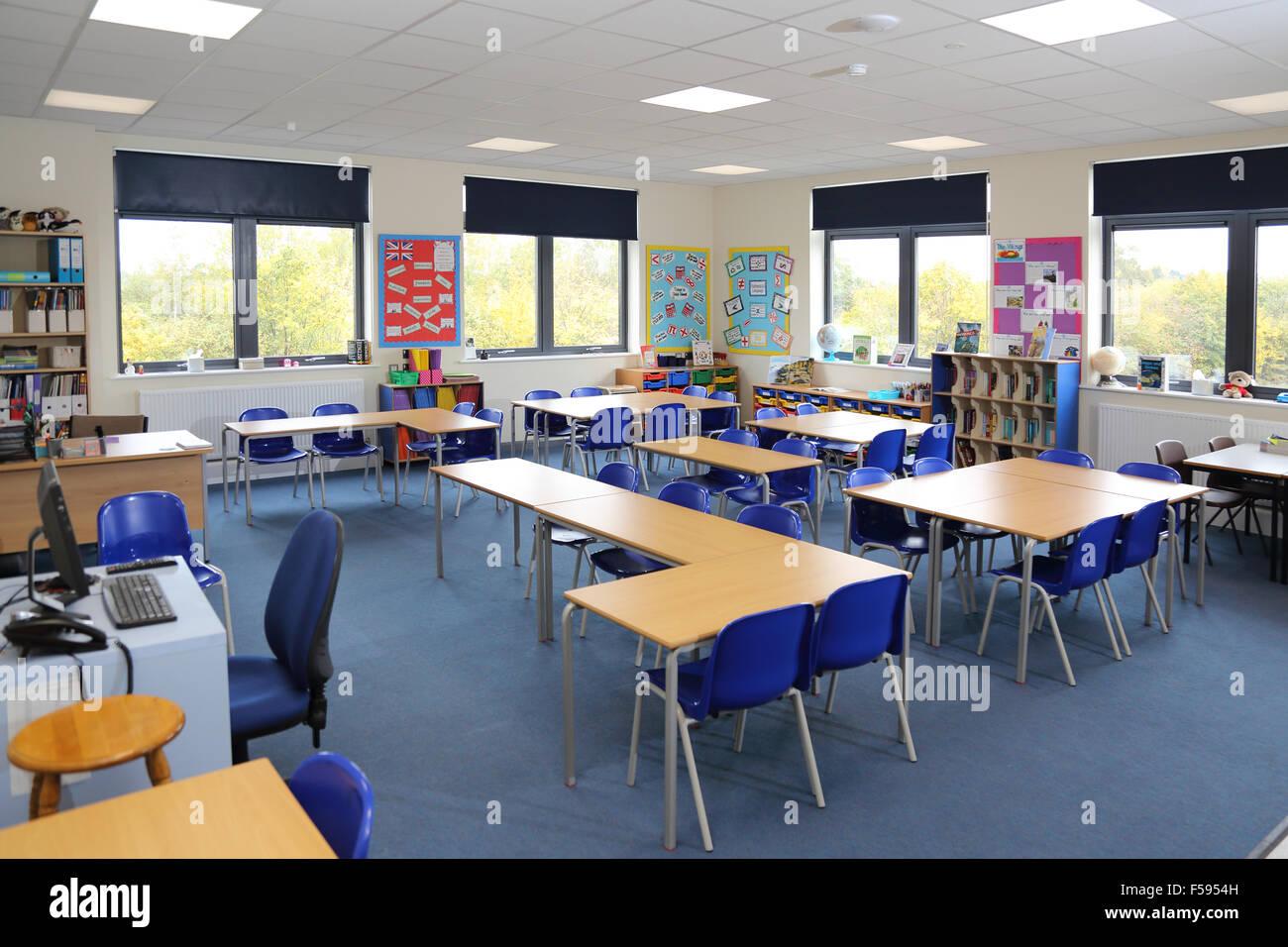 A Classroom In A Newly Built Uk Junior School Shows Desks