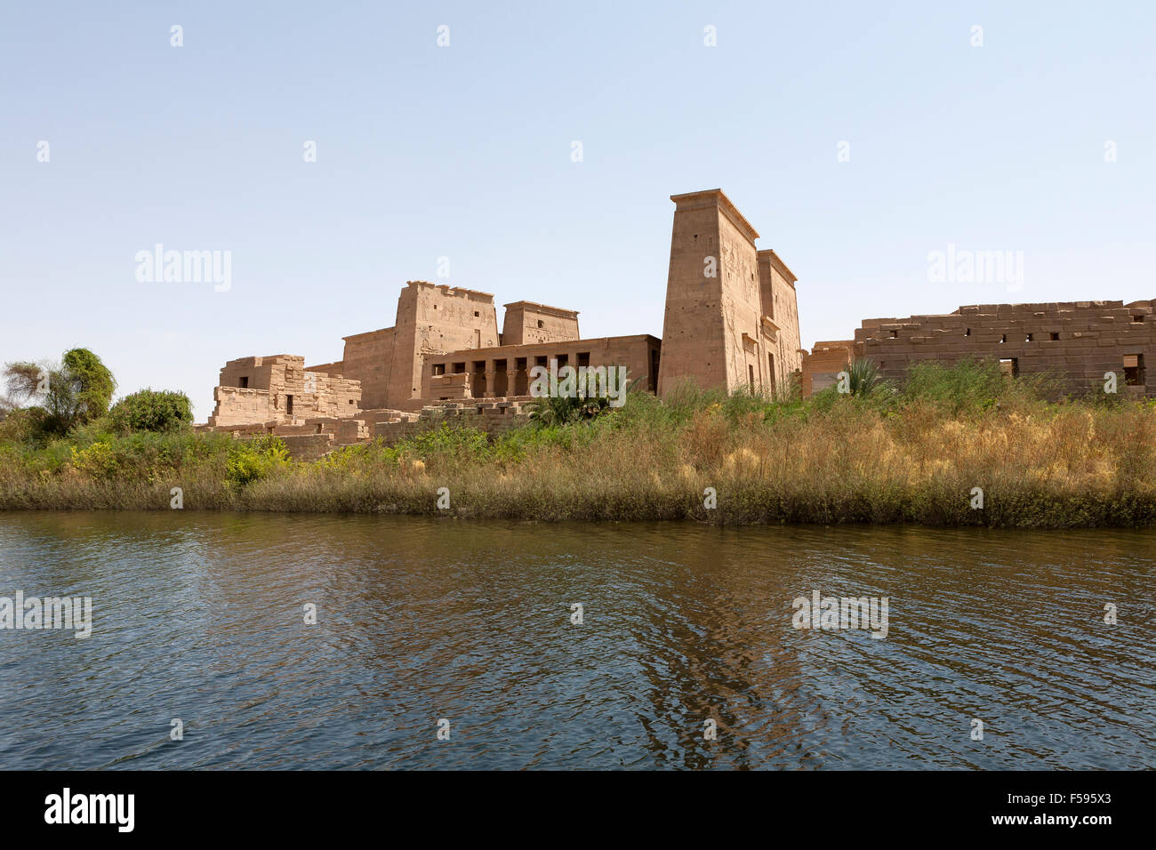 Temple of Philae, Island of Isis, Agliki, Aswan, Upper Egypt Seen from the water. - Stock Image