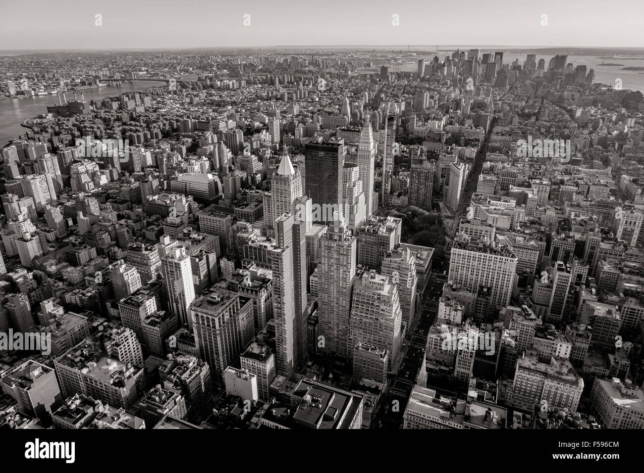 Black and white aerial view of New York City skyscrapers with Midtown, Chelsea, East Village and Lower Manhattan. Stock Photo