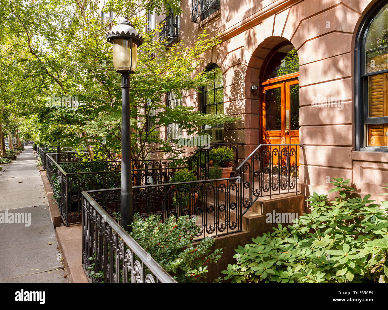 Chelsea tree-filled street and its townhouses and frontyards, Manhattan, New York City Stock Photo
