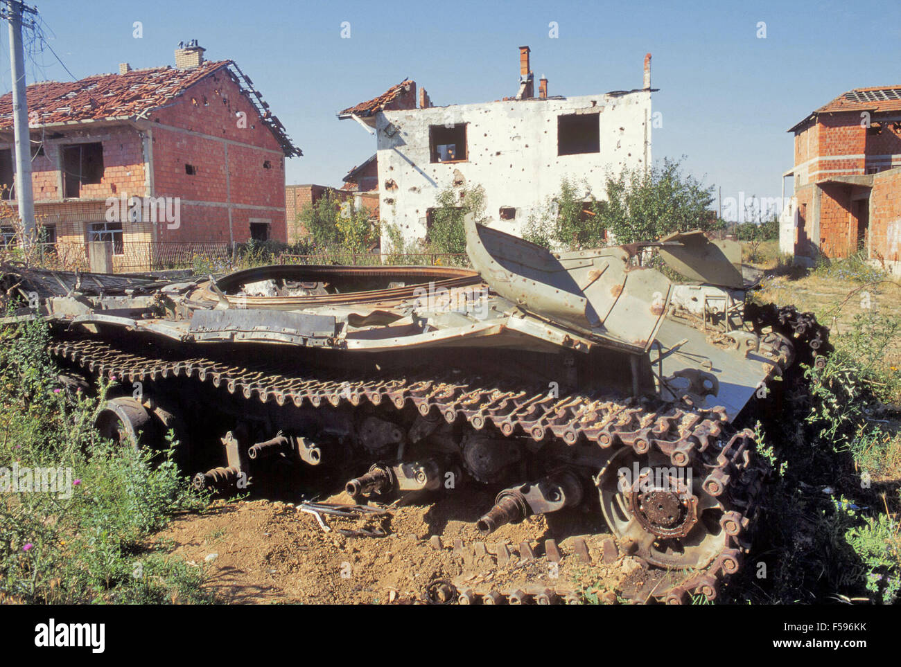 Kosovo, July 2000, Serbian tank destroyed by NATO attacks with depleted uranium grenades Stock Photo