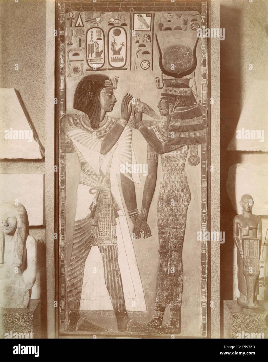 Pharaoh Seti and the goddess Hathor, Egypt - Stock Image