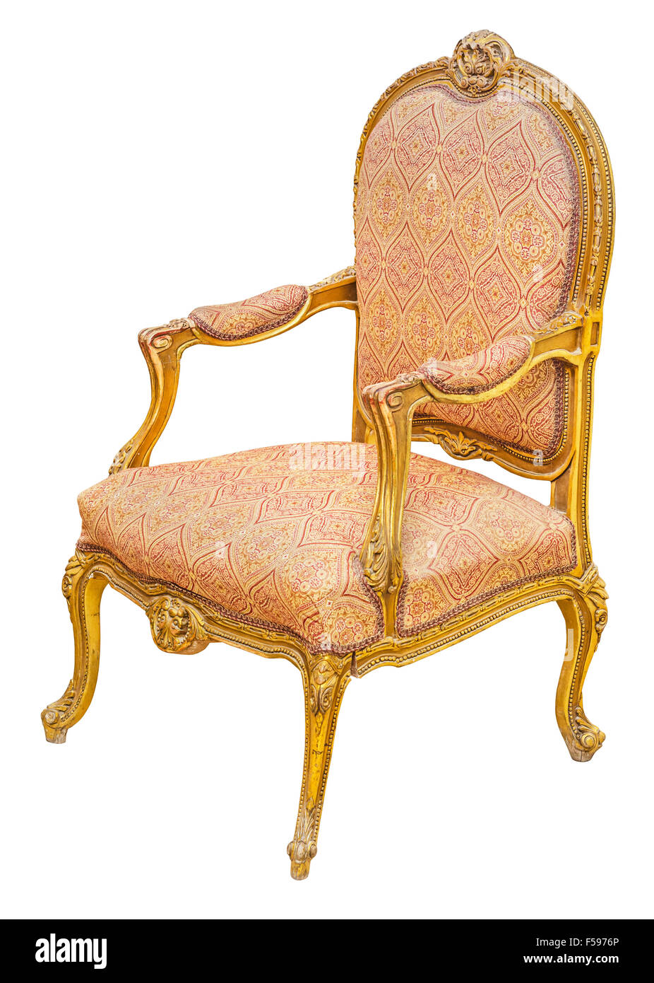 Old Antique Classic Style Vintage Gilded Wooden Chair, Isolated On White  Background. File Contains