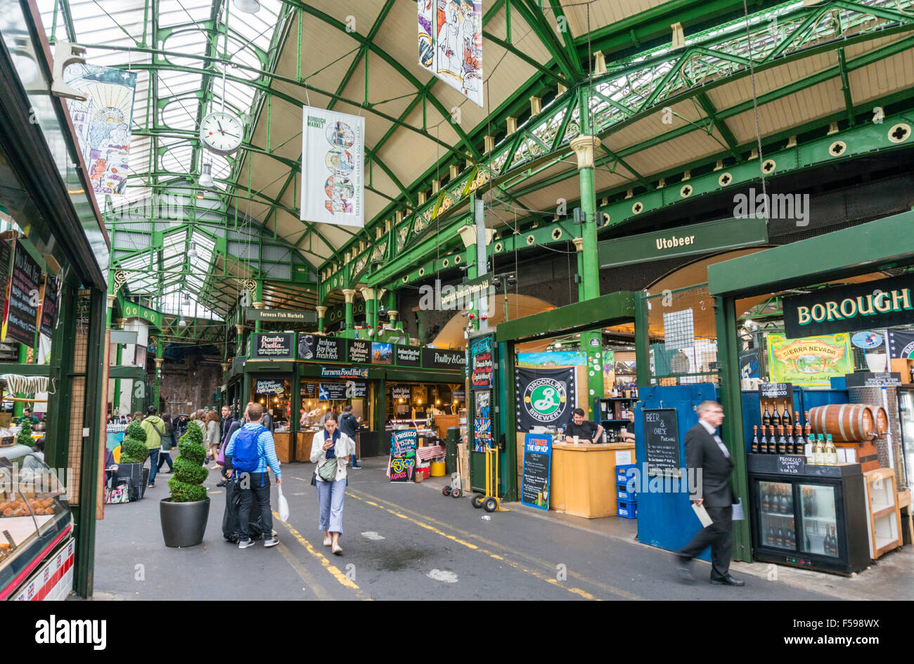 stall at Borough market borough high street London England UK GB EU Europe - Stock Image