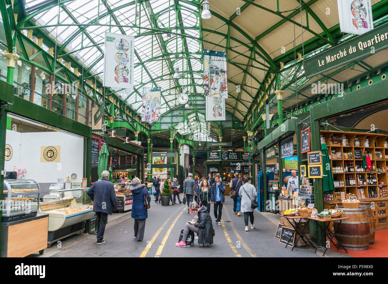 stalls at Borough market borough high street London England UK GB EU Europe - Stock Image