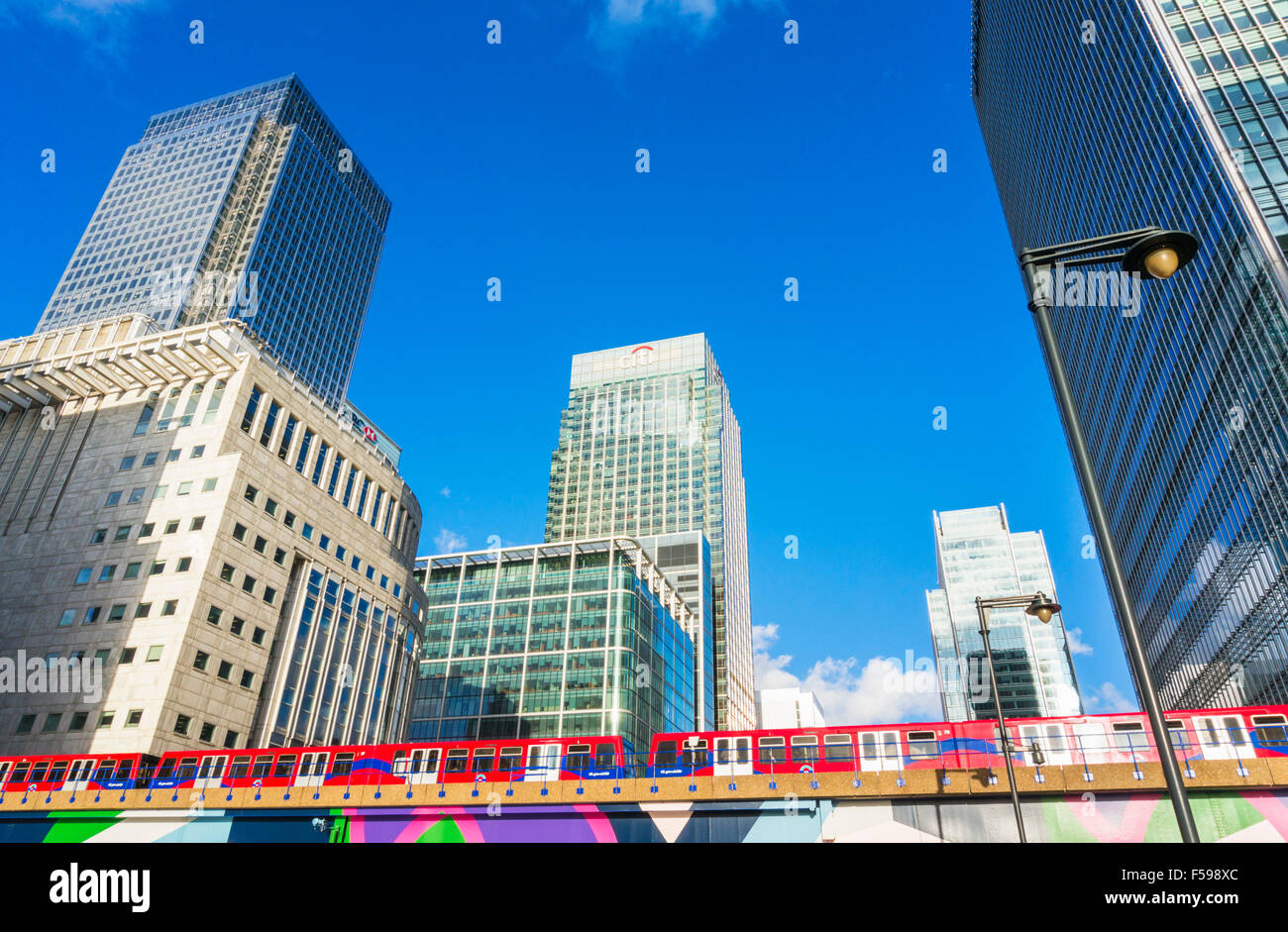 Canary wharf skyscrapers CBD banking and financial district Docklands London England UK GB EU Europe - Stock Image