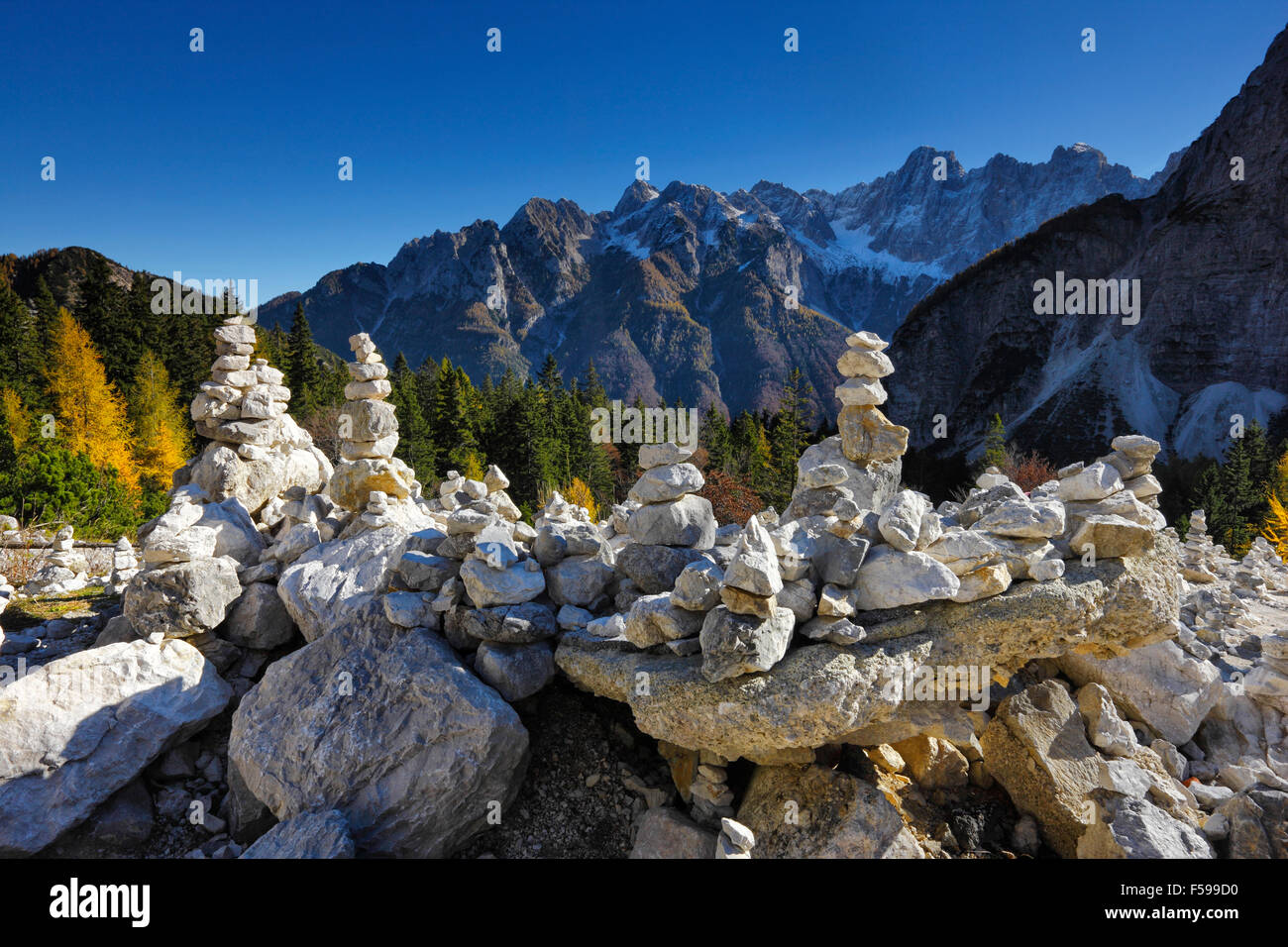 Stone towers in Julian alps in Slovenia, Vrsic mountain pass - Stock Image