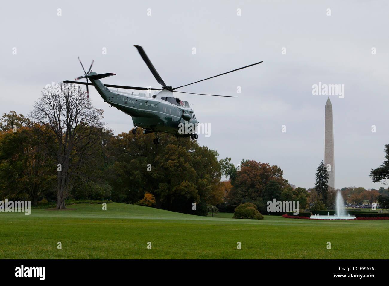 US Marine One helicopter departing from White House - Washington, DC USA - Stock Image