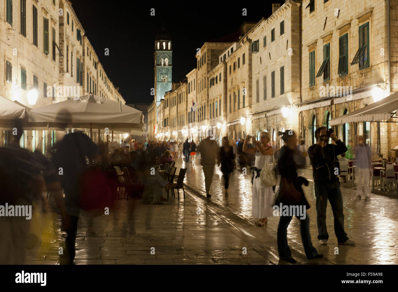 Dubrovnik nightlife. Croatia - Stock Image