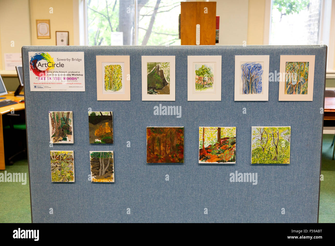 Art display by local artists in Sowerby Bridge library, West Yorkshire - Stock Image