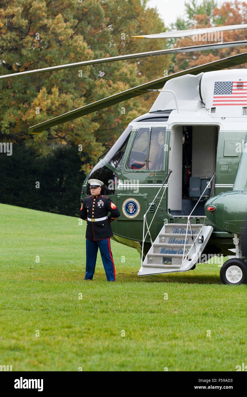 Marine One helicopter preparing for departure - Washington, DC USA - Stock Image