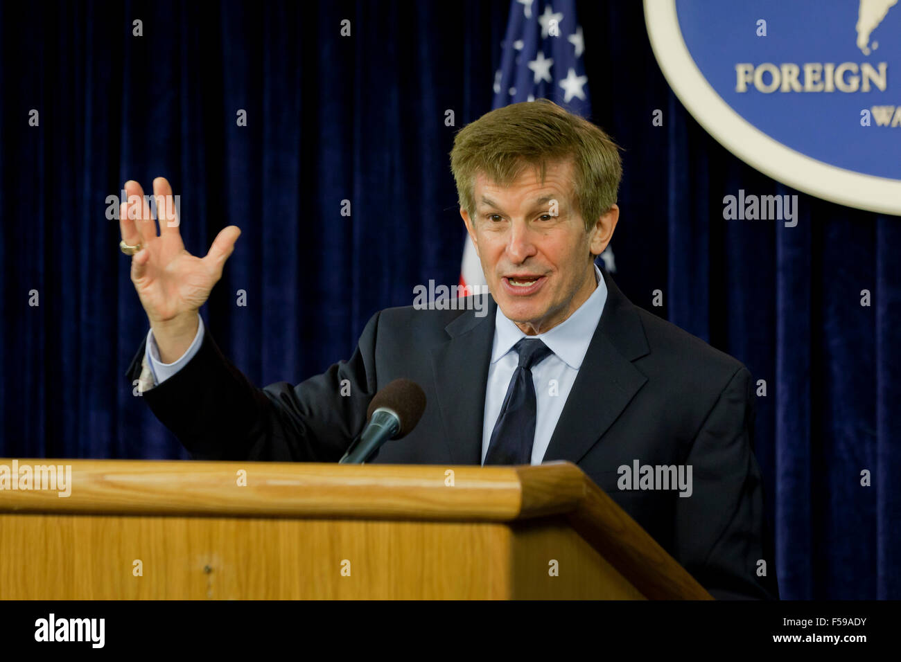 Professor Allan Lichtman of American University, speaking at US State Department Foreign Press Center on the 2016 - Stock Image