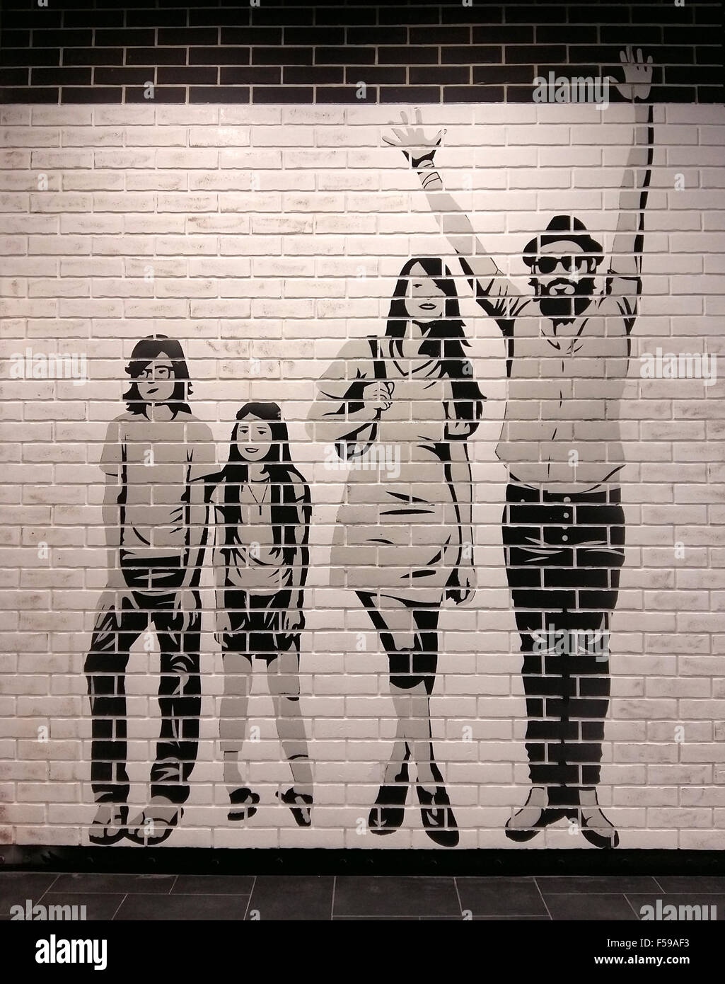 New Grunge White And Black Brick Wall With Painted Happy Family