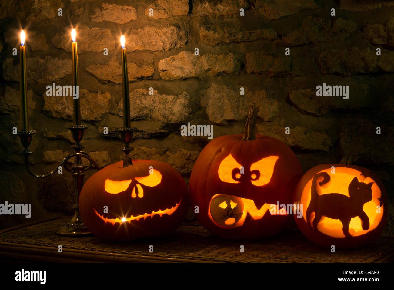 Spooky Halloween Pumpkins - Stock Image