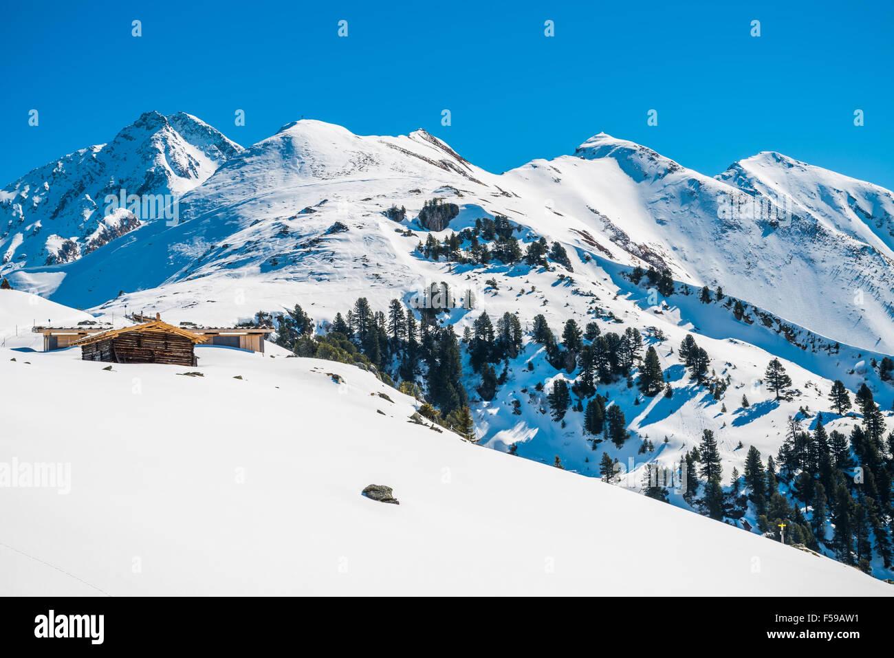 Austrian Alps in the winter, Mayrhofen ski resort - panoramic view - Stock Image
