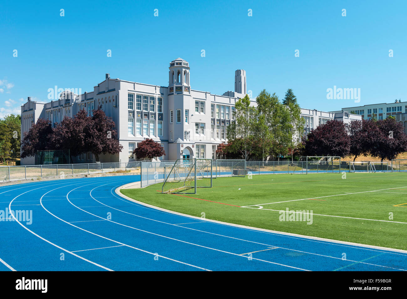 Point Grey Secondary School (1929), located in the Kerrisdale and Shaughnessy areas of Vancouver, BC, Canada - Stock Image