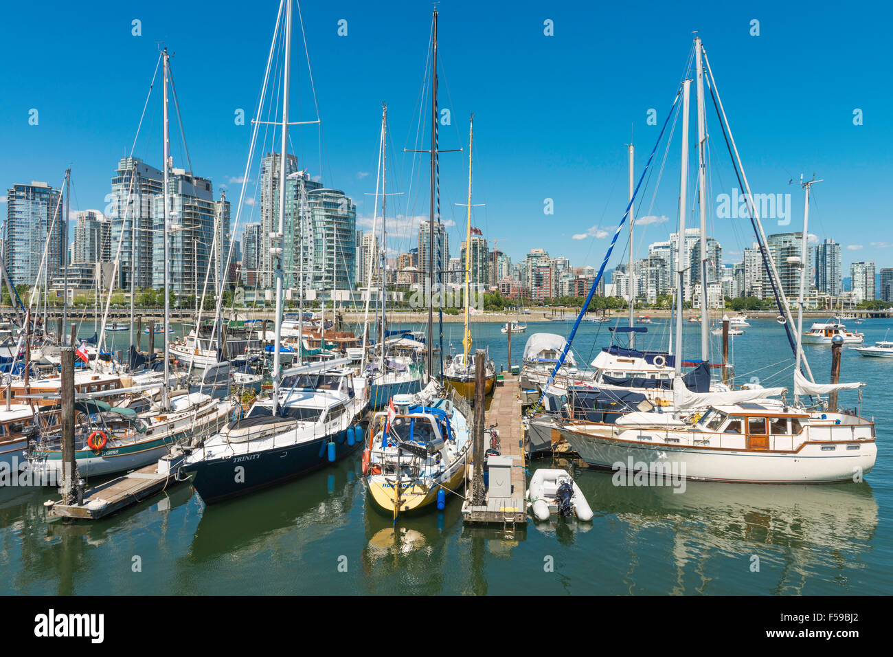 View of marina on Granville Island, False Creek and downtown Vancouver, seen from Island Park Walk, Vancouver, BC, - Stock Image
