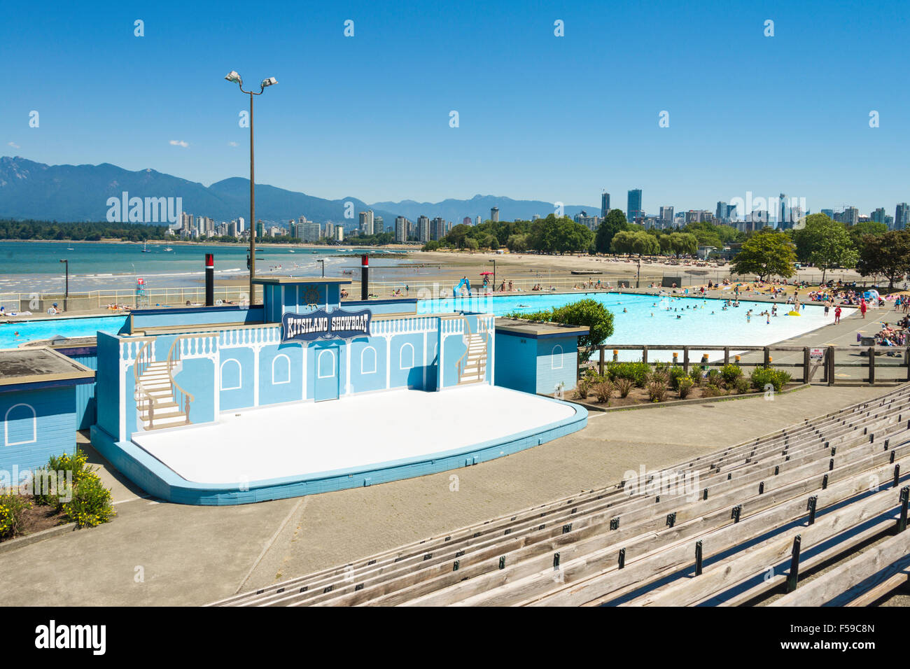 Kitsilano Showboat, at Kitsilano Beach, Vancouver, is an open air amphitheatre. It hosts free performances in summer - Stock Image