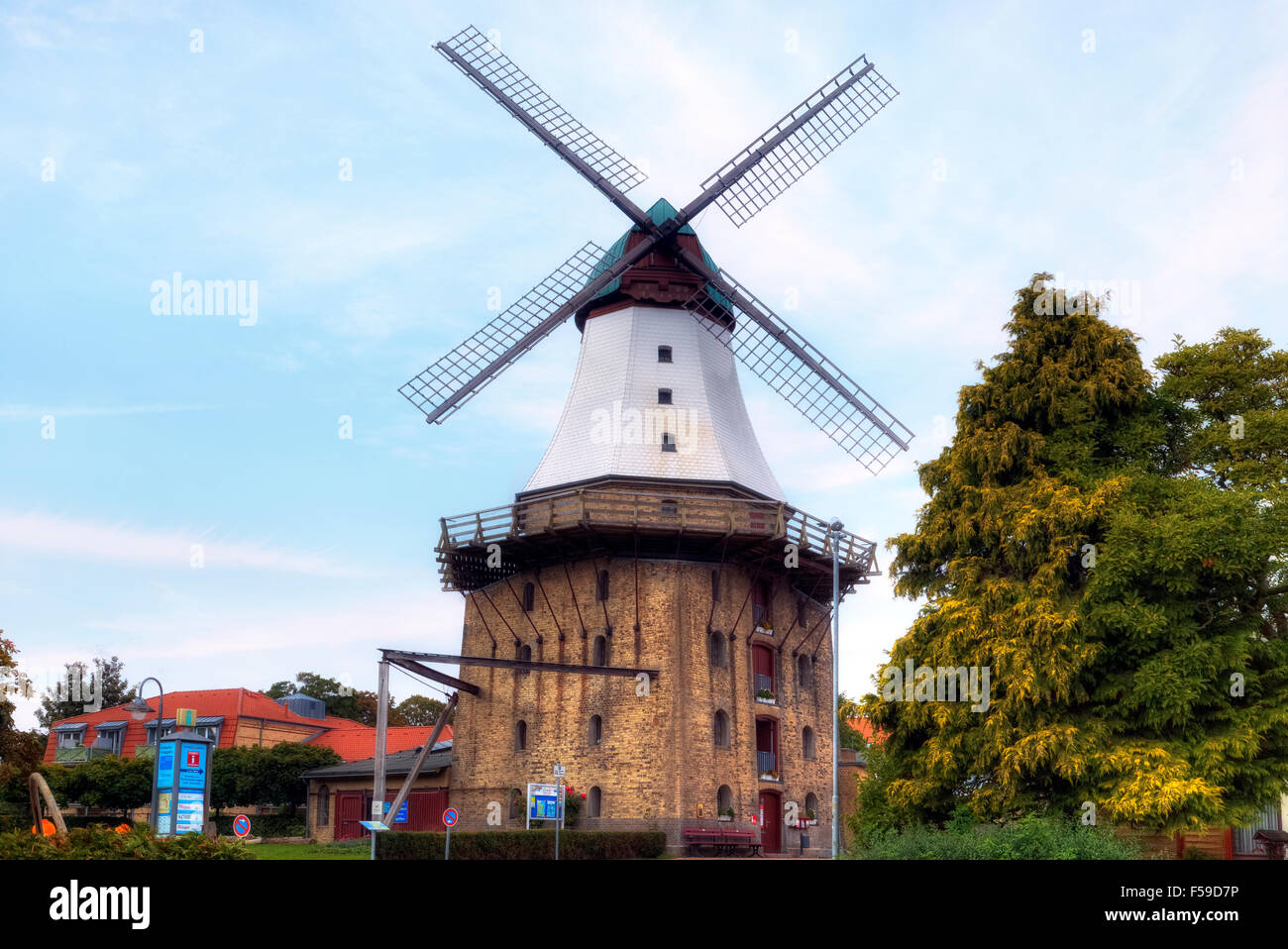 windmill Amanda, Kappeln, Schlei, Schleswig-Holstein, Germany - Stock Image