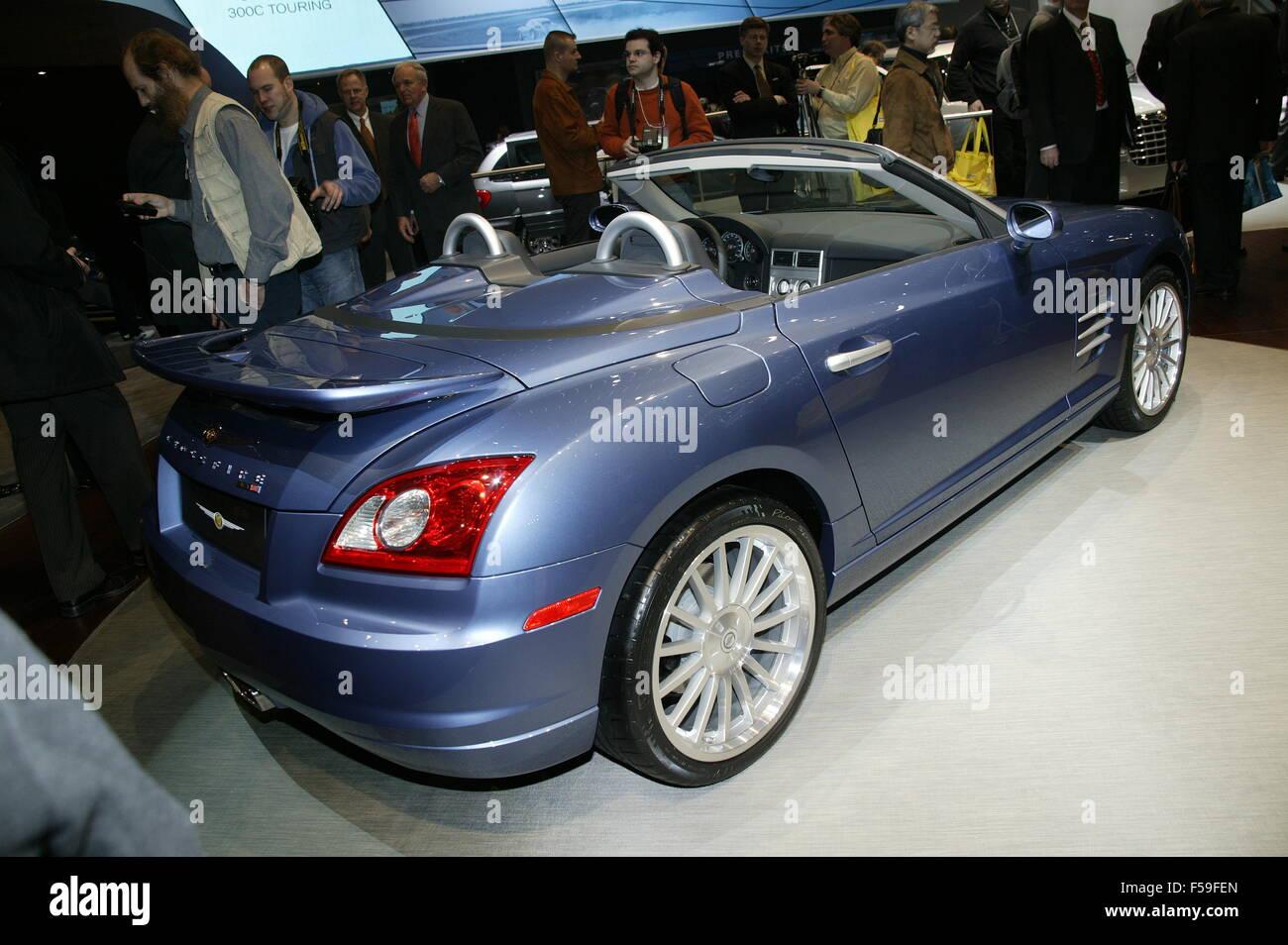 Chrysler Crossfire SRT-6 At the Geneva Motorshow 2004 - this car is based on the mercedes SLK chassis - Stock Image
