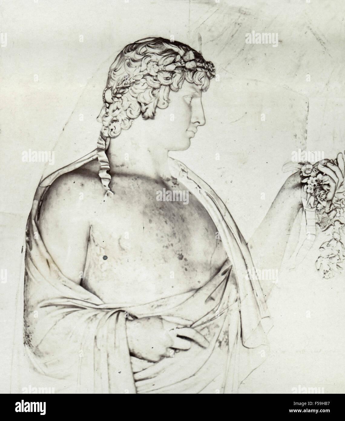 Bas-relief of Antinous as Vertumnus, Villa Albani, Rome - Stock Image