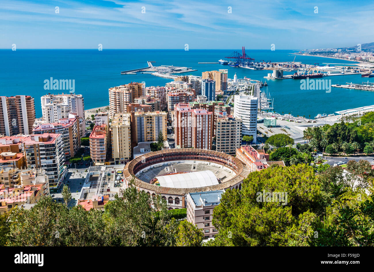 spain andalusia malaga province malaga city view of the harbour stock photo 89337317 alamy. Black Bedroom Furniture Sets. Home Design Ideas