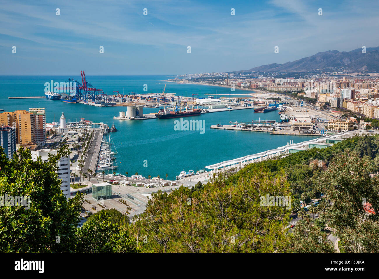 Spain, Andalusia, Malaga Province, view of the Port of Malaga - Stock Image