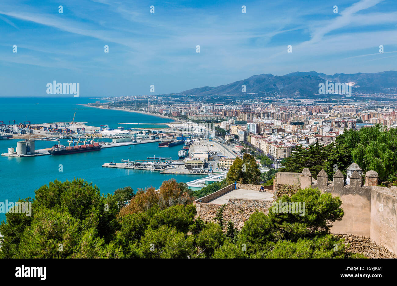 Spain, Andalusia, Malaga Province, Malaga City, view of the Port of Malaga from the fortifications of Gibralfaro - Stock Image