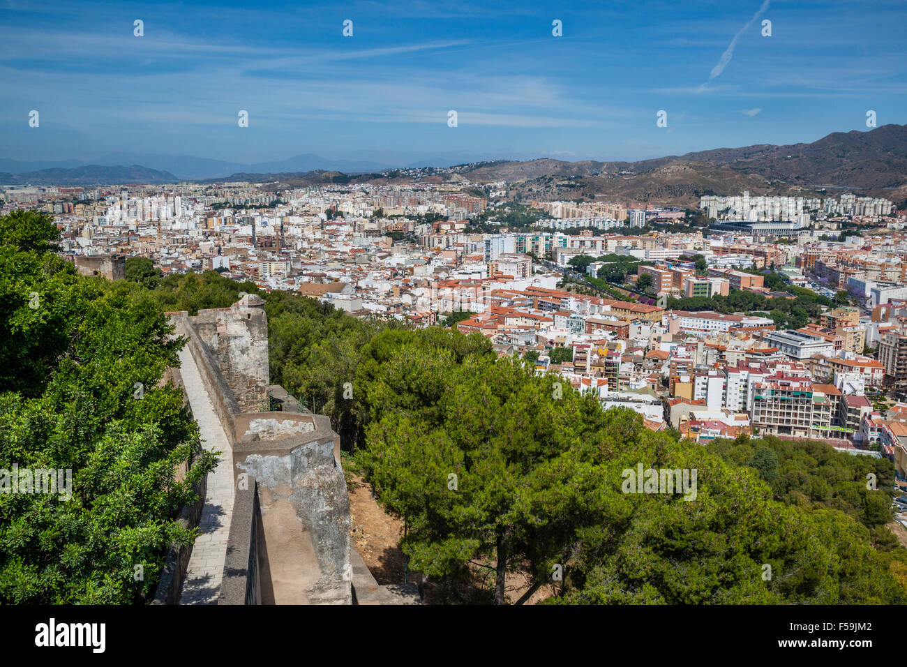 Spain, Andalusia, Malaga Province, Malaga, view of the urban sprawl north of the historic centre of Malaga - Stock Image