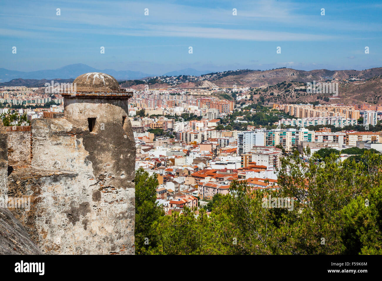 Spain, Andalusia, Malaga Province, Malaga, view of the urban sprawl north of the historic centre of Malaga in the - Stock Image