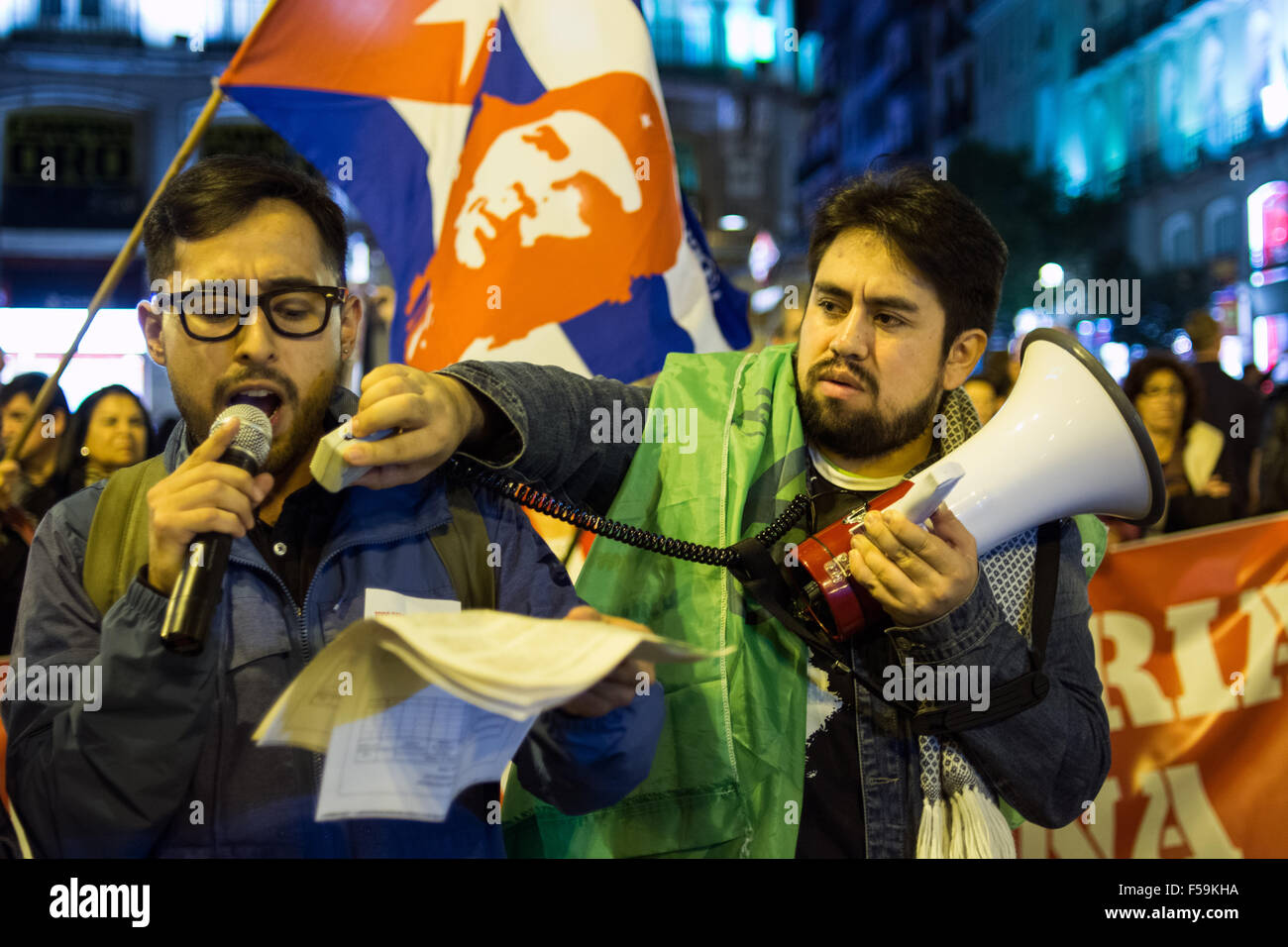 Madrid, Spain. 30th Oct, 2015. An activist speaks to the crowd during a demonstration in Madrid against imperialism - Stock Image