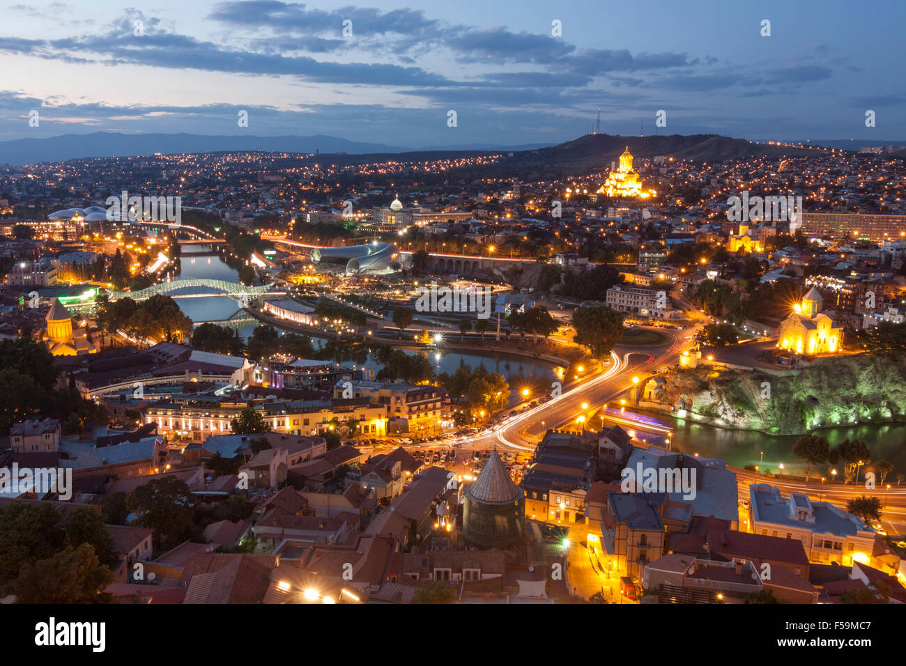 Overview of the historical center of Tibilisi at dusk. Georgia - Stock Image