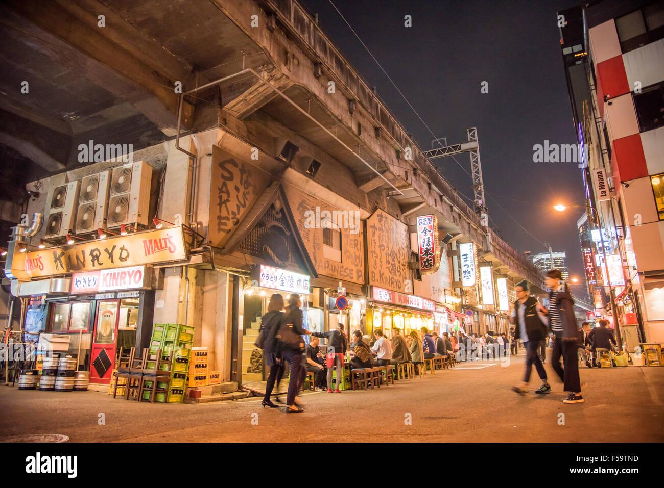 Street scene around Yurakucho station,Minato-Ku,Tokyo,Japan Stock Photo