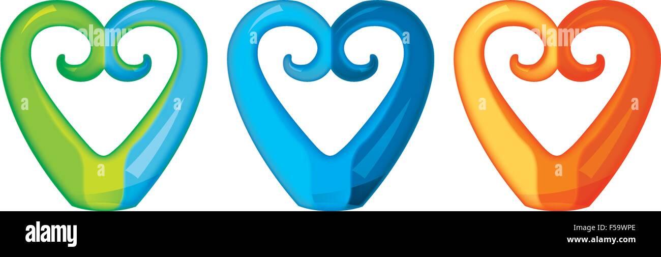 a0cd21650d2e6 A set of glass Maori Koru heart curl ornaments Stock Vector Art ...