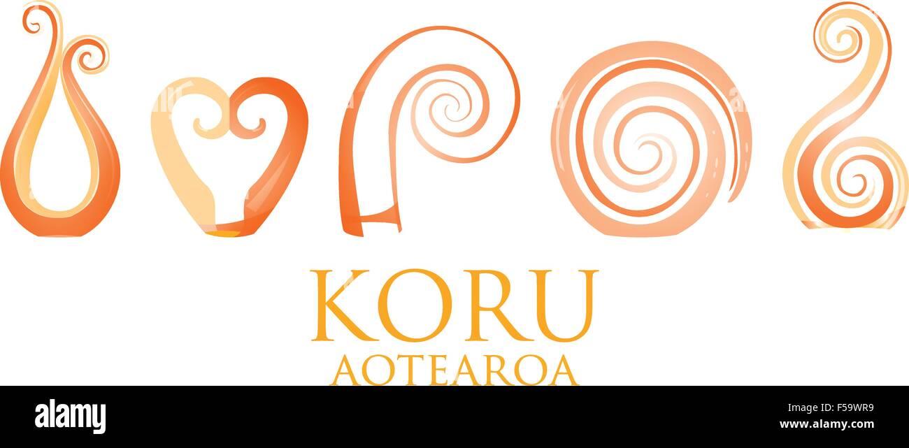 777a17ea2885c A set of glass Maori Koru curl ornaments. - Stock Vector