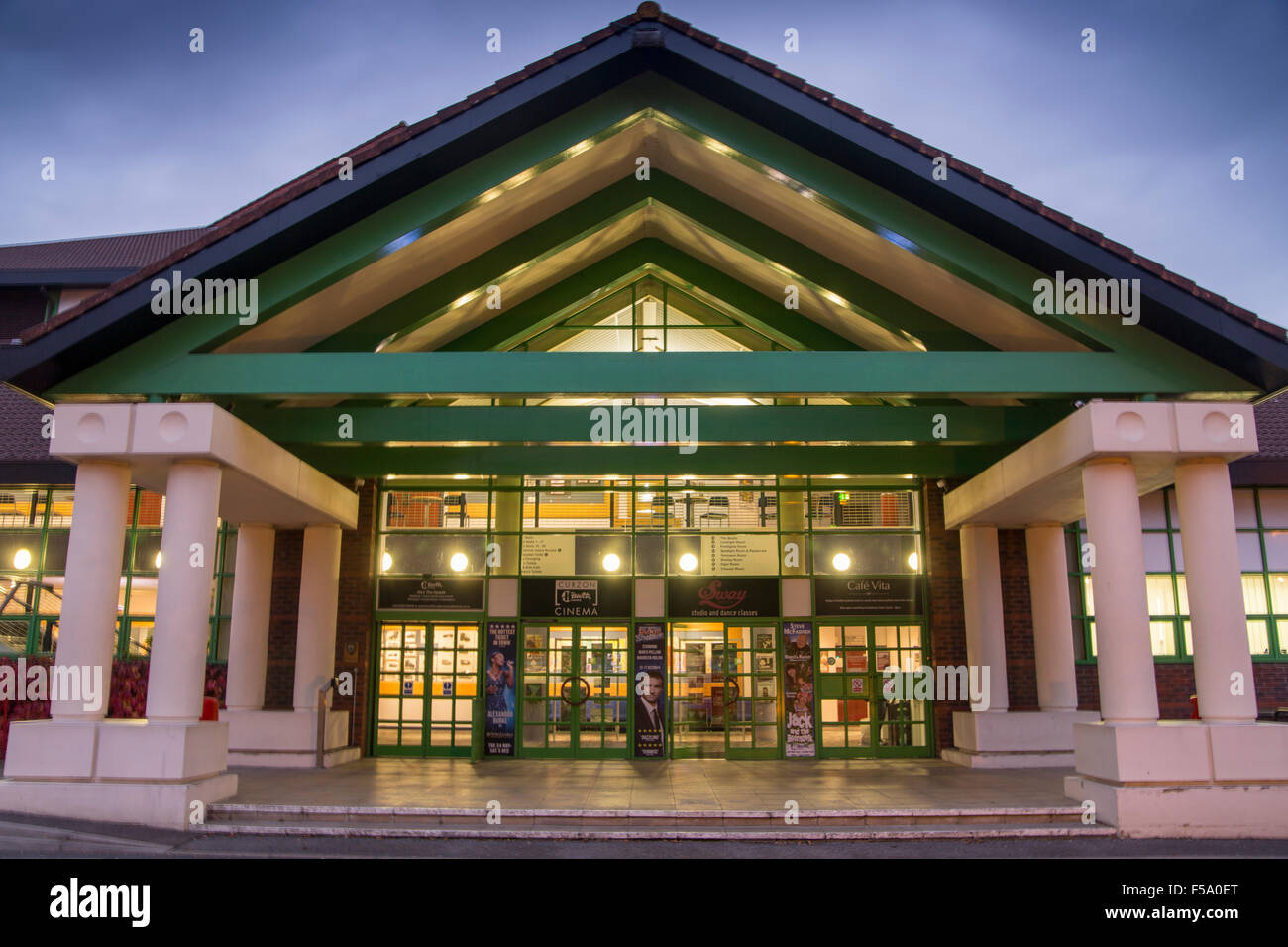 Night view of entrance at Hawth Theatre Crawley West Sussex - Stock Image